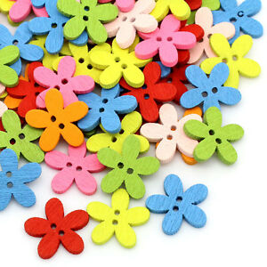 200-New-Wood-Buttons-Sewing-Scrapbooking-Flowers-Shaped-2-Holes-Mixed