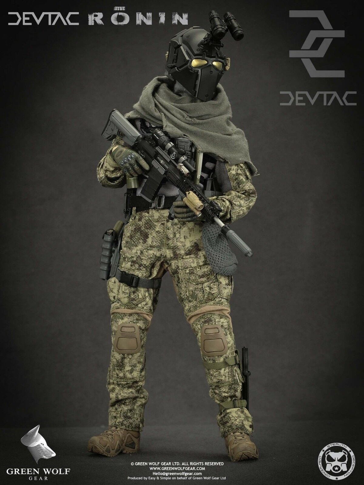 BRAND NEW Green Wolf Gear - Military Model Devtac Ronin 1 6 Scale Action figure