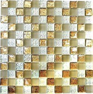 Das Bild Wird Geladen Glasmosaik Weiss Braun Beige Mix Struktur Wand Kueche