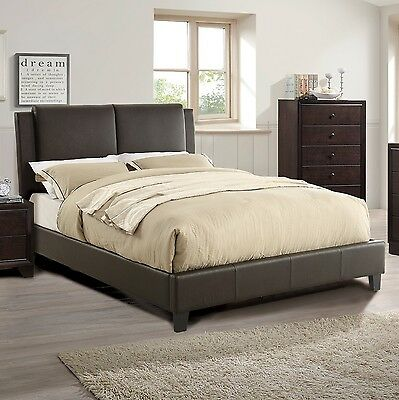 Bedroom Modern Brown Faux Leather Bedroom Set Queen Full Cal King Est King Bed Ebay