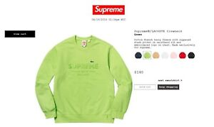 86aff8db55eb Image is loading Supreme-X-Lacoste-Crewneck-Green-Size-Medium-CONFIRMED