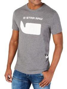 G-Star-Raw-Mens-T-Shirt-Gray-Size-Medium-M-Crewneck-Logo-Graphic-Tee-35-486