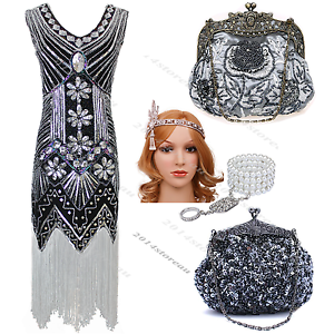 bf0244d4 Ladies Black 1920s Flapper Dress Great Gatsby Sequin Fringe Roaring ...