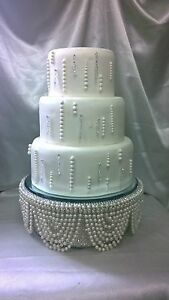round or square all sizes Drape design wedding cake stand Rose Gold crystals /& Ivory pearls
