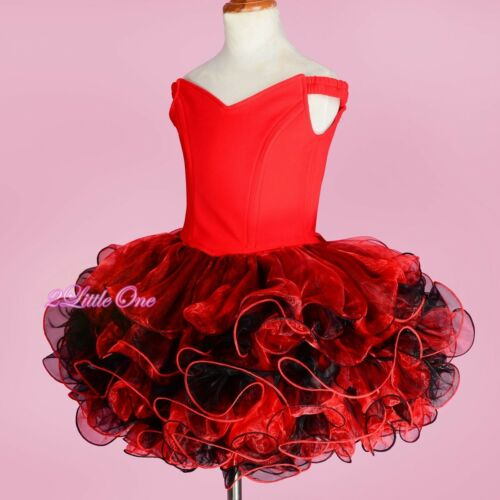Cupcake National Pageant Dress DIY Shell Party Flower Girl Red Size 2T-10 PT001