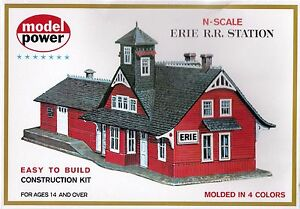 Erie-RR-Station-Depot-Model-RR-Layout-Kit-N-Scale-1-160-by-Model-Power