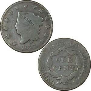 1827 Coronet Head Large Cent AG About Good Copper Penny 1c US Type Coin
