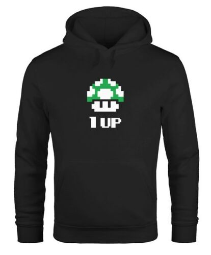 Hoodie Uomo Compleanno Retrò pixel-fungo 1-up fungo level-up Gaming Console