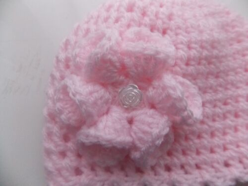 Baby Girl Pink Crochet Hat with a lovely large flower 0//3mths