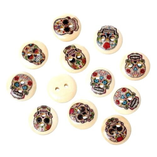 Sewing Buttons   15mm 50 pcs Mixed Sugar SKULL Patterned Wood  Scrapbooking
