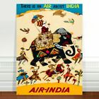 "Stunning Vintage India Travel Poster Art ~ CANVAS PRINT 16x12"" Air India"