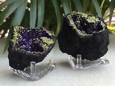 Purple Geode Pair W/Stand Crystal Geode Quartz Gemstone Specimen Morocco Geode.