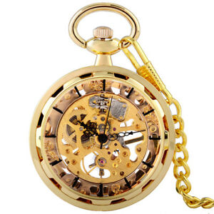 Mens-Luxury-Gold-Mechanical-Pocket-Watch-Chain-Open-Face-Vintage-Retro-Classic