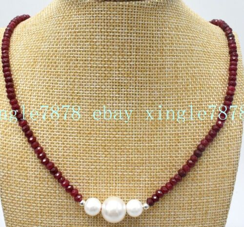 New 2x4mm Red Ruby+White 7-8mm/_9-10mm Pearl Necklace 18/'/' AAA