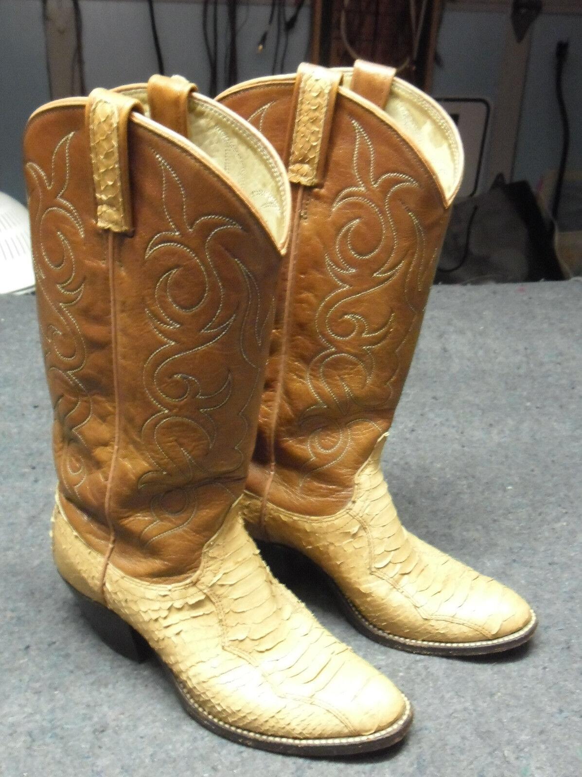 WOMEN'S DAN POST 2-tone BROWN LEATHER SNAKESKIN WESTERN COWBOY BOOTS  SZ 6 1 2 C