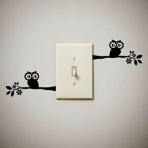 Owl Tree Branch Cute Funny Vinyl Decal Sticker For Light Switch Our - Vinyl-decals-to-decorate-light-switches-and-outlets