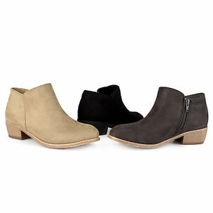 Brinley-Co-Womens-Heeled-Faux-Suede-Booties-New-Ankle-Boots