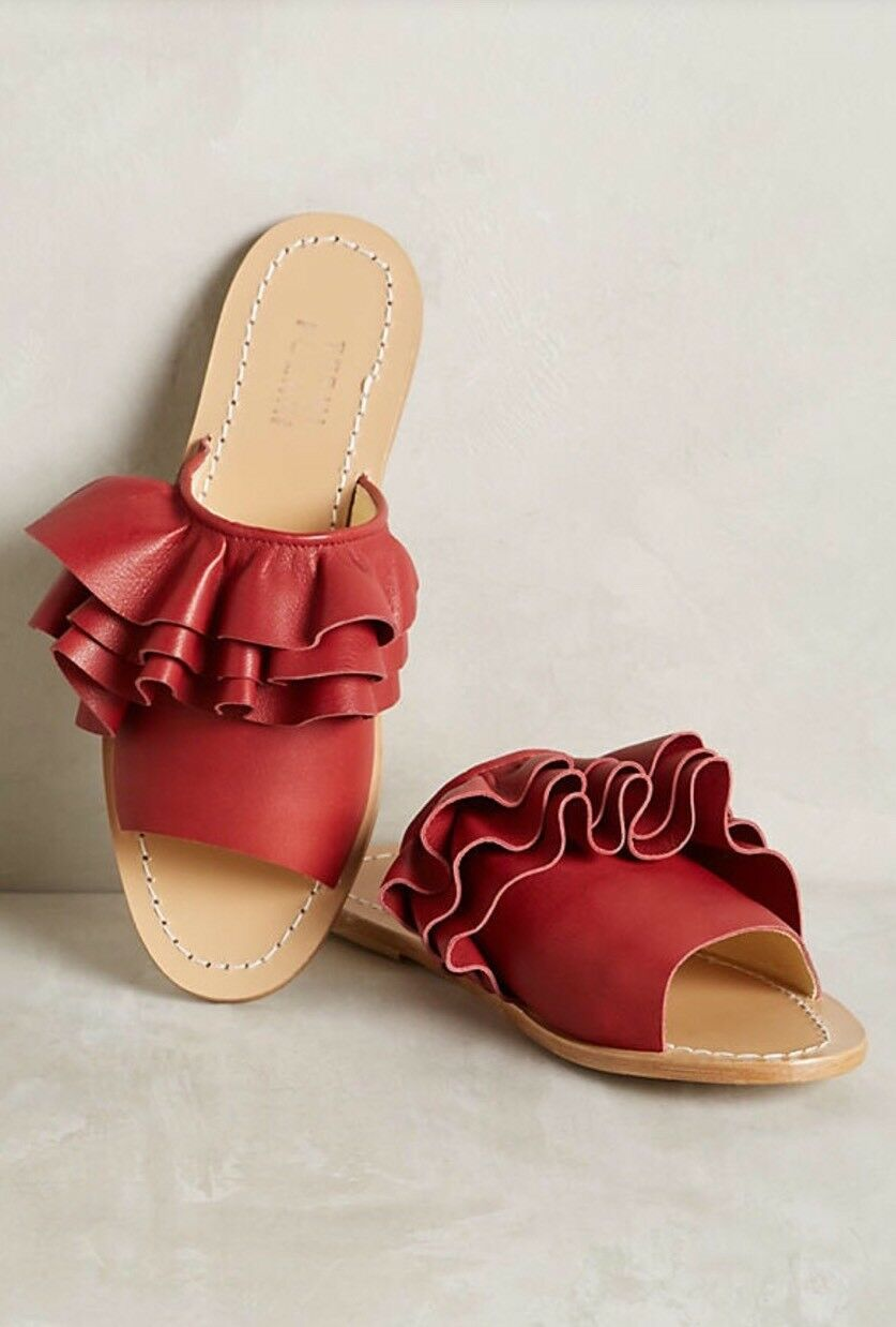 NEW Anthropologie Ruffled Fringe Slide Sandals Size 40 Rosso Leather
