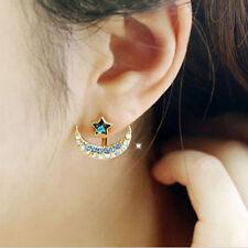 Mew Beautiful Women Gold plated Moon Star Shape Crystal Rhinestone Stud Earrings