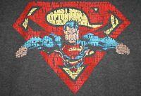 Superman Words Logo Mens T-shirt Gray DC Comics S, M, XL NWT