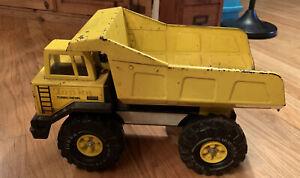 Vintage-Tonka-1980-039-s-Turbo-Diesel-Pressed-Steel-Dump-Truck-Yellow-Classic