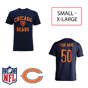 cf5772dcc Image is loading PERSONALISED-Chicago-Bears-Adult-Kids-NFL-T-Shirt-
