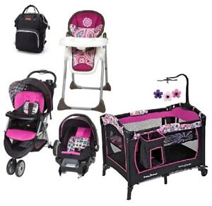 Baby Trend Bundle Stroller With Car Seat Playard High Chair Travel