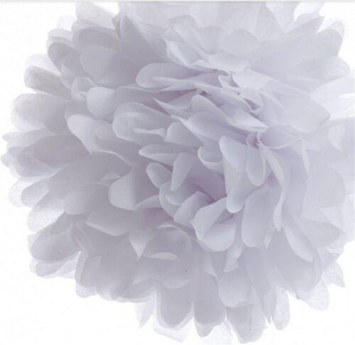 10x set pompom 20 cm papier fleurs blanc mariage décoration fête d/'anniversaire pompons