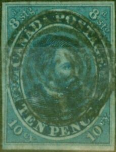 Kanada 1855 10d Dunkelblau SG15 Fein Gebraucht 4 Klar Neat Ränder Ziel Stempel