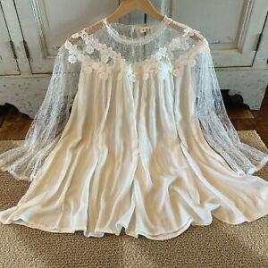 S-Boho-White-Lace-Romantic-Peasant-Blouse-Vtg-70s-Insp-Top-Women-039-s-SMALL-NWT
