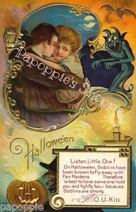 Fabric-Block-Halloween-Vintage-Postcard-Image-Lovers