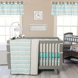 Crib Bedding Set 3 Piece Seashore Waves Nursery Baby Boys Girls Trend Lab New