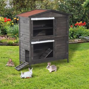 Image Is Loading Gatun Wooden Double Decker Outdoor Rabbit Hutch With