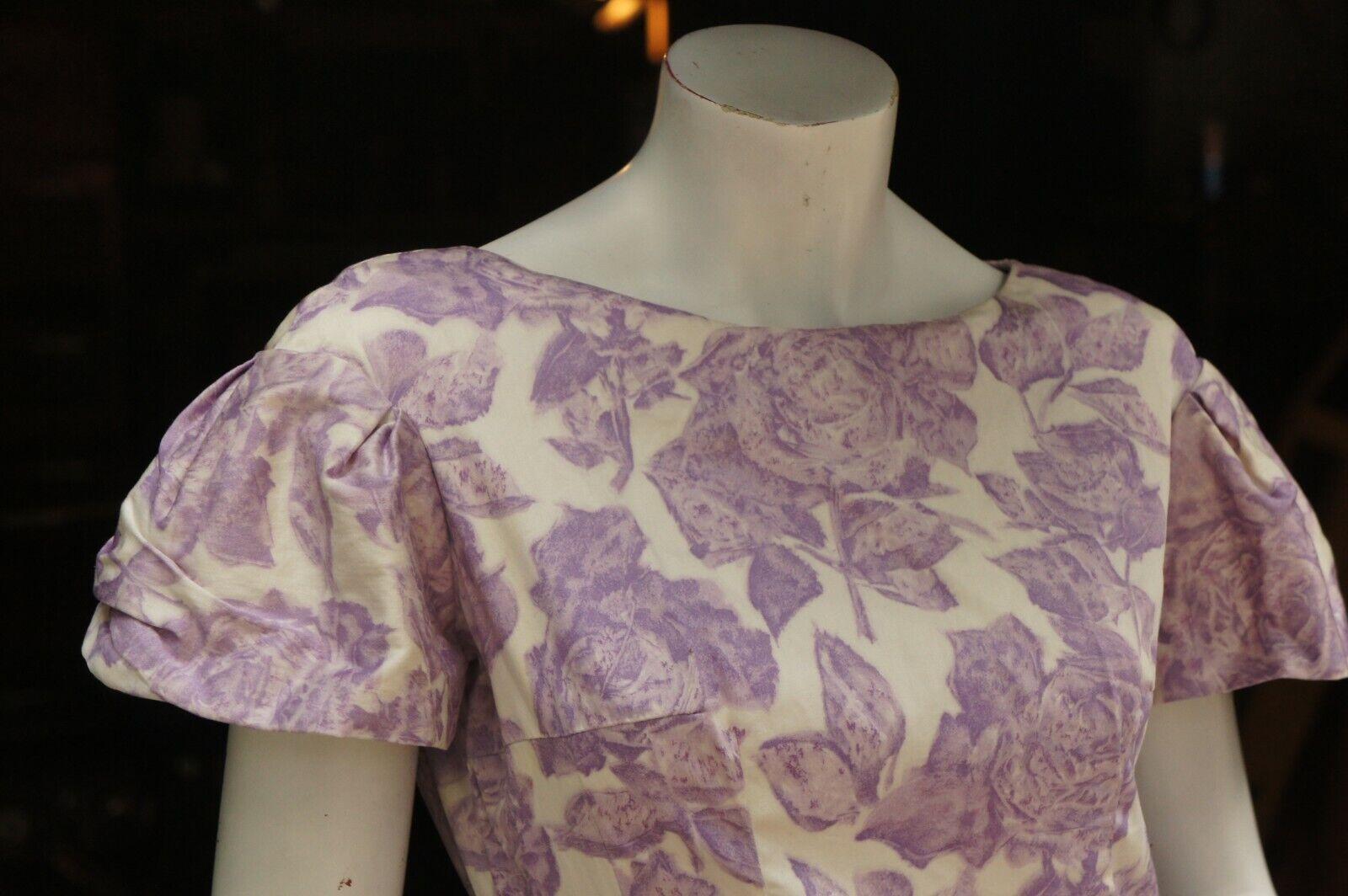 Vintage 50s Purple Floral Rose Print Dress Midi … - image 4