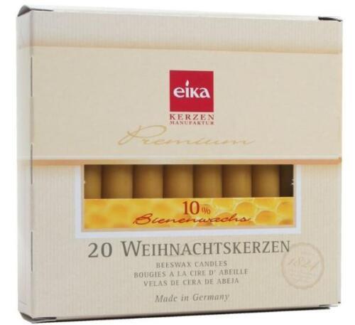 EIKA Baumkerze 10/%Bienenwachs naturgelb 20 Stück H105 xD 12,5mm Weihnachtskerzen