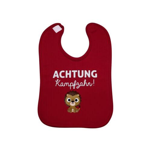 """Babylätzchen /""""Achtung Kampfzahn!/"""" aus Baumwolle in verschiedenen Farben neu"""