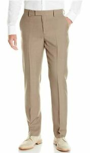 Oxford-NY-Men-039-s-Modern-Fit-Flat-Front-Fixed-Waist-Dress-Pant-Taupe-38x30