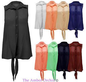 New-Ladies-Sheer-Sleeveless-Chiffon-Front-Tie-Blouse-Shirt-Womens-Top-UK-8-14