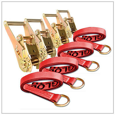 """Four (4x) 2"""" x 8 ft Red Lasso Straps w/ O-Ring Four (4x) Long Handle Ratchets"""