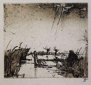 Horst-Janssen-RADIERUNG-handsigniert-Der-kleine-Angler-aus-1987