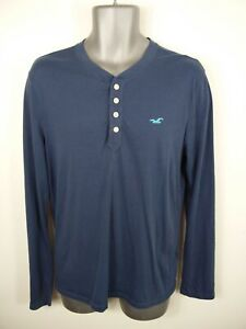 MENS-HOLLISTER-NAVY-BLUE-BUTTON-UP-LONG-SLEEVED-HENLEY-NECK-T-SHIRT-SIZE-S-SMALL