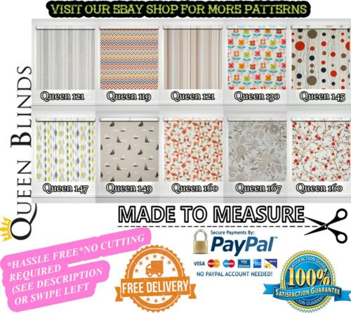 /'MADE TO MEASURE* EASY FIT Premium Patterned Multicoloured Custom Roller Blinds