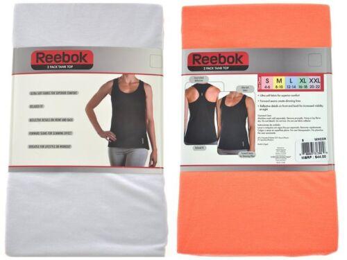 White//Orange Reebok Ladies Size Large 2-Pack Ultra Soft Tank Tops