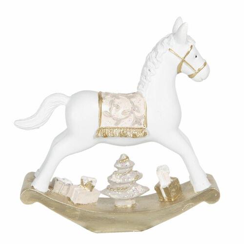 Deko Schaukelpferd 14*3*14 cm WeißPolyresin SchaukelpferdShabby 6PR3060