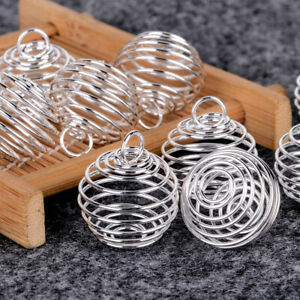 Wholesale-10pcs-Silver-Plated-Spiral-Bead-Cages-Pendants-25mm