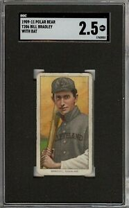 Rare 1909-11 T206 Bill Bradley Bat Polar Bear Cleveland SGC 2.5 Low Population