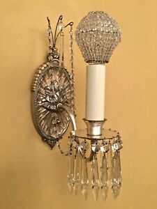 Details About Vintage Lighting Incredible Pair 1920s Silver Crystal Sconces