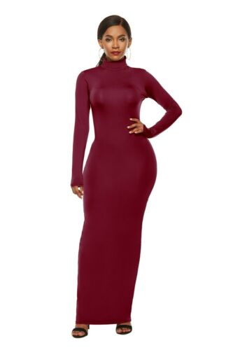 Casual Women/'s Turtle Neck Long Sleeve Maxi Dress Party Bodycon Evening Dresses
