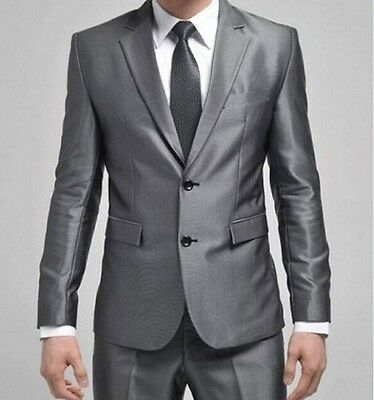 Mens Youth Slim Fit Formal Blazers Suits Two-Button Suit Set Casual Pant&Jacket