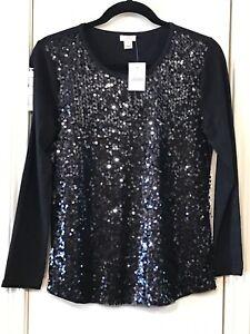 J-CREW-Women-039-s-Small-Blouse-Black-Sequin-Long-Sleeve-Scoop-Neck-NWT